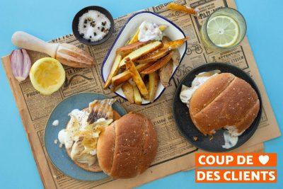 fish burger a la menthe et au citron frites de carottes panier repas